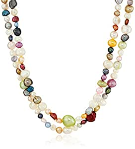 Multicolor Bright Freshwater Cultured Endless Pearl Strand, 66""