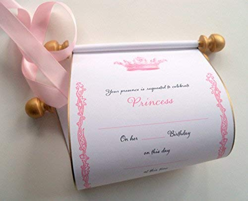 Image Unavailable Not Available For Color Princess Birthday Invitation Scrolls Royal Crown Pink Gold