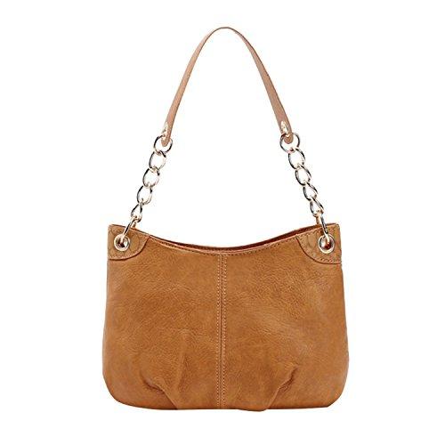 Kukoo Women Leather Single Shoulder Bags Fashion Large Capacity Chain Handbag, Brown by Kukoo