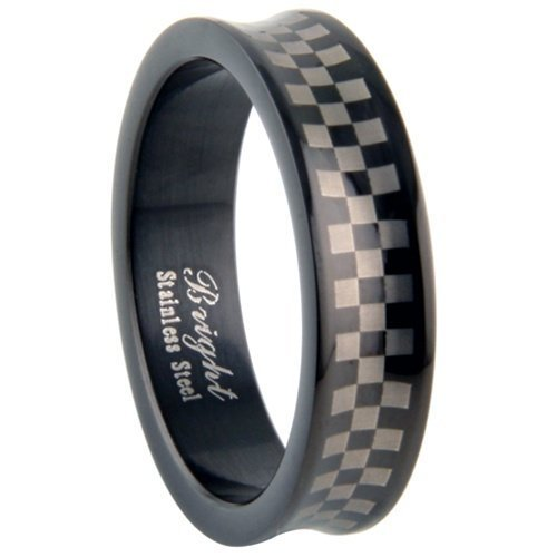 JewelryVolt Stainless Steel Ring Symbol Concave Laser Etched Racing Checered Flag Polished Black IP Flat Fit Band (Black Checkered 11)