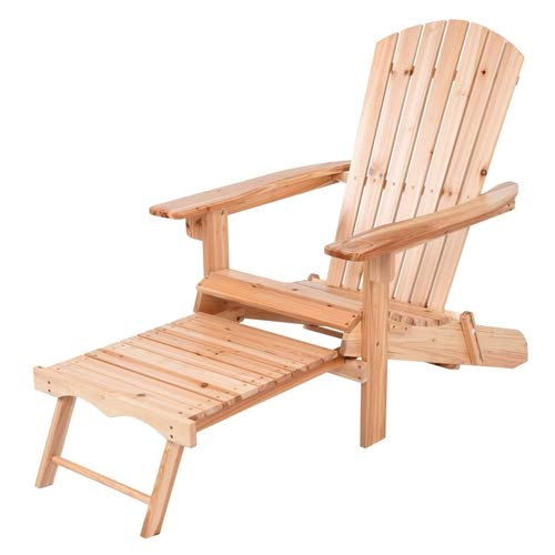 Outdoor Garden Patio Unfinished Wood Adirondack Chair with Retractable Footrest Ottoman Comfortable Sleeping Rest Relax Enjoy Fun Natural Color Space Saving Foldable Folding (Chairs Ottoman Adirondack With Retractable)