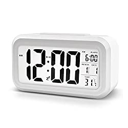 LAWHO Digital Alarm Clock White Time Date Temperature with Large LCD Display Multi-function Backlight Sensor Automatic Night Glow Battery for Kids Bedroom Kitchen Office Dormitory Travel