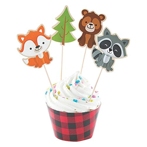 Fun Express Inc. Woodland Party Cupcake Wrappers & Picks - Makes 50 Treats ()