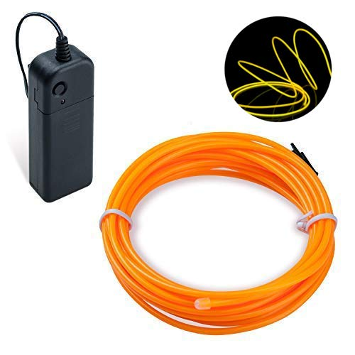 Lysignal 16 Foot Neon Glowing Strobing Electroluminescent Light Super Bright Battery Operated Neon Sign Wire Cable for Cosplay Dress Festival Halloween Xmas Party Carnival Decoration (Pumpkin)
