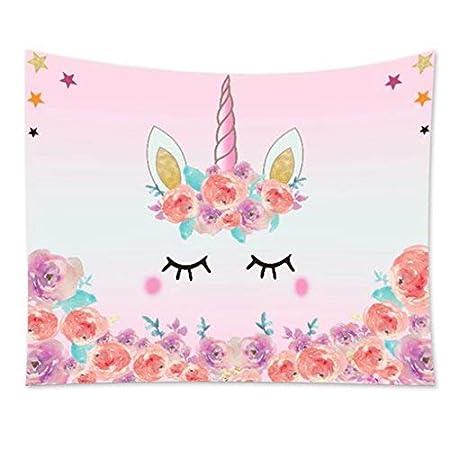 cuori ragazza Asciugamano Piscina 70/x 140/cm Arcobaleno 100/% cotone velour Telo Mare con stelle Familando Bellissimo Unicorno Unicorn Rosa,