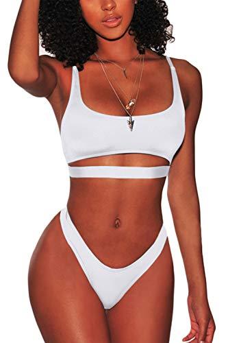LEISUP Womens Cutout Crop Top High Cut Cheeky Two Piece Brazilian Bikini White XL