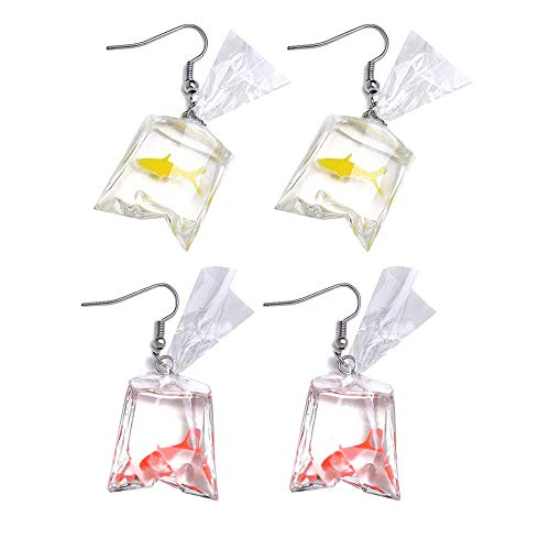 Funny Goldfish Earrings, Water Bag Shape Dangle Hook Earrings Charm Jewelry Gift Earrings for Women Girls- 2 Pairs (One Red& One Yellow)