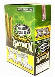 Cigars Filler (DOUBLE PLATINUM XXL CIGAR WRAPS 2 PER PACK BOX OF 25 APPLE MARTINI with Free BakeBros Silicone Container and Sticker Assorted Colors)