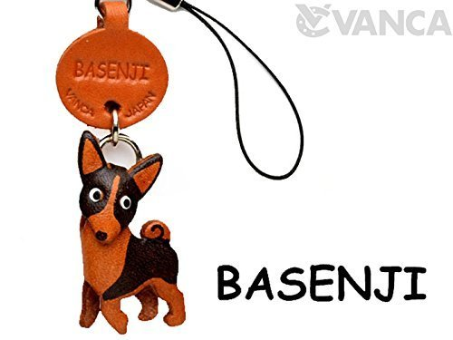 Vanca.com Basenji Leather Dog mobile/Cellphone Charm VANCA CRAFT-Collectible Cute Mascot Made in Japan