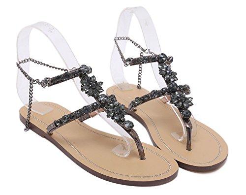 Huateng Sandals for Women Summer Beach Sandals Bling Rhinestone Bohemia Flat Sandals for Charming Black 2 9lQP8b
