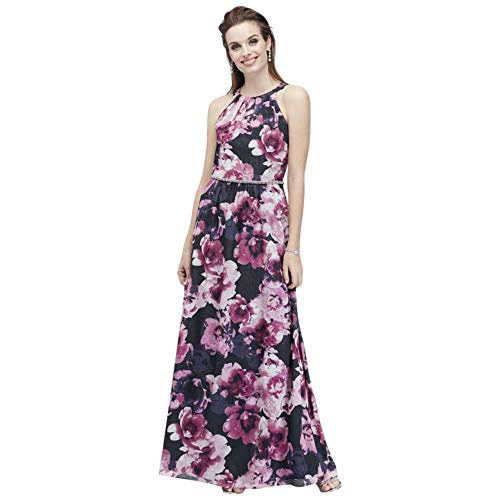 High-Neck Chiffon A-Line Mother of Bride/Groom Dress with Crystals Style 9171323, Navy, 18