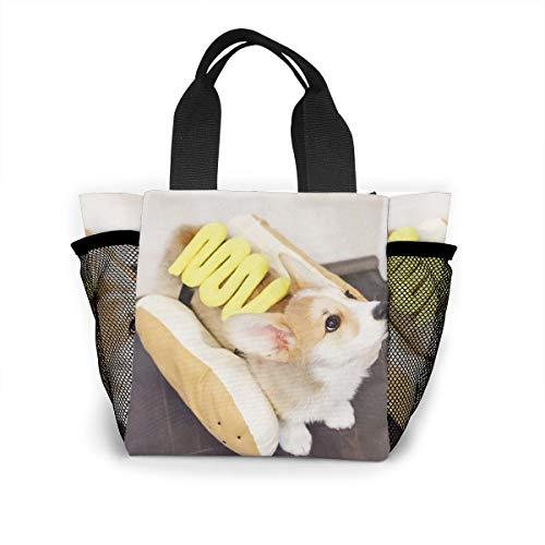 Lunch Handbag with Water Bottle Holder for Men, Hot Dog Real Printed Multipurpose Snack, Picnic Tote Bag -