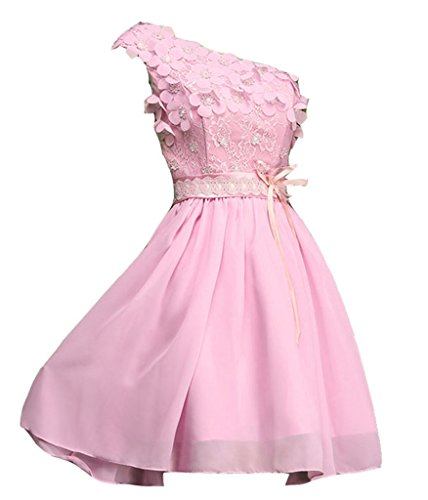 Chiffon Spitze emmani Brautjungfer Damen Kleider Pink Eine Schulter Bq1SHw