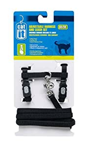 Catit Nylon Adjustable Cat Harness and Leash Set, Medium, Black
