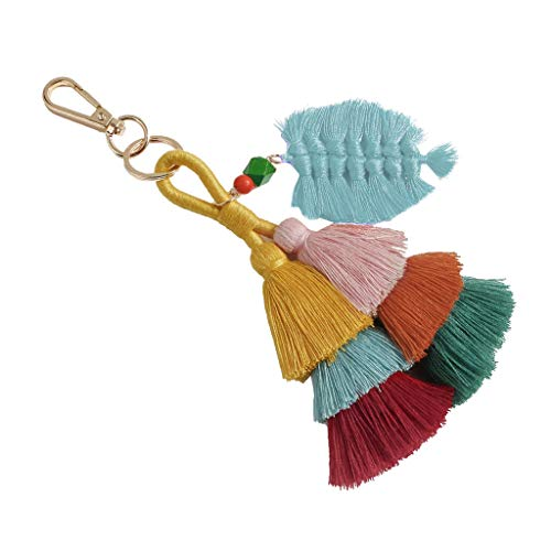 Cathy Clara Bohemian Creative Multicolor Fringed Leaves Keychain Hanging Men and Women Jewelry Gift Keychains for Women Girl Keychains Valentine Birthday