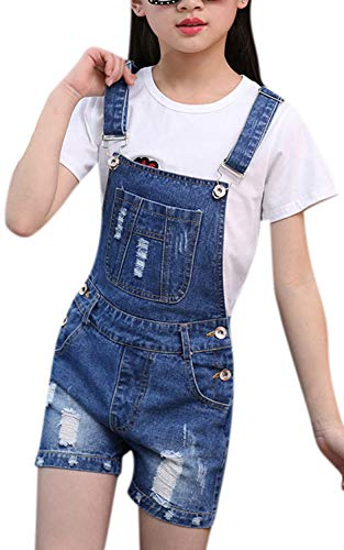 YOSUNL Girl's Blue Denim Overalls Adjustable Straps Distressed Rolled Up Jeans Shortall Big Kids Romper Jumpsuits Blue ()