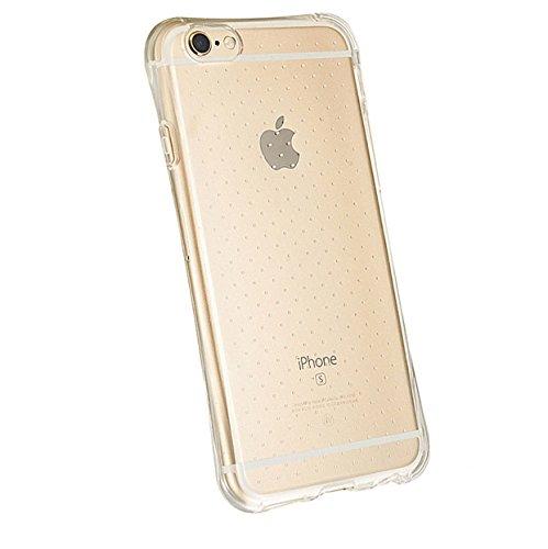 Slim Transparent Coque antichoc en TPU avec particules d'angle en verre trempé pour iPhone 6/6S avec–Jaune/Or.