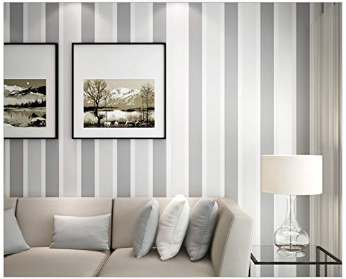 (Wallpaper Modern Minimalist Dark Gray Stripes Non-Woven Wall Paper Decoration for Family Living Room Hotel)