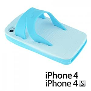OnlineBestDigital - Slipper Style 3D Soft Silicone Case for Apple iPhone 4S / Apple iPhone 4 - Light Blue with 3 Screen Protectors