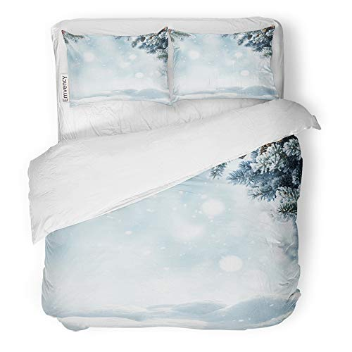 t Cover Set Brushed Microfiber Fabric Breathable Christmas Winter Snow and Blurred Bokeh Merry Happy New Year Copy Space Bedding Set with 2 Pillow Covers King Size ()