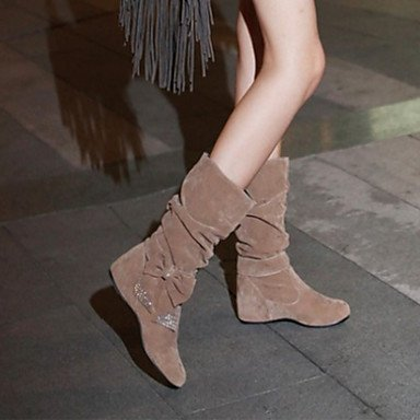 Bootie EU40 botas Nubuck Glitter CN41 Calf de de primavera US9 UK7 Mid tacón Toe mujer Comfort Novedad cuña señaló RTRY otoño espumoso Zapatos de Bowknot Botas Cuero 1qwvPS