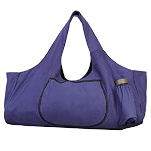 TENDYCOCO Yoga Mat Bag Large Yoga Mat Tote Sling Carrier with Side Pockets and Zippers – Purple