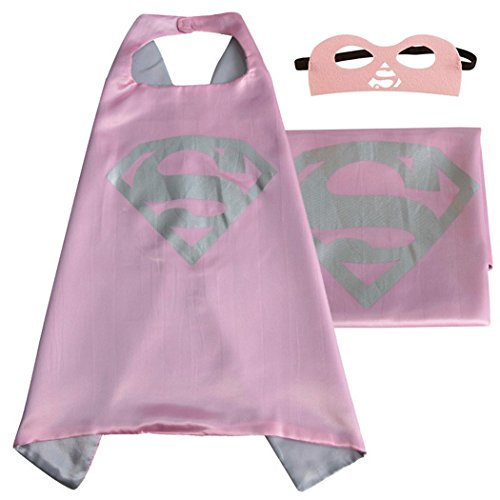 Girls Pink Supergirl Costumes (Whoopgifts Supergirl Costume Superhero Satin Cape With Felt Mask)