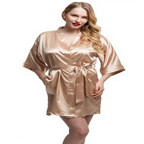 Fashion Women Short Satin Kimono Robes Women Knee Length Sexy Lingerie Sleepwear Fashion Nightwear Bride Bridesmaid Robes L Champagne
