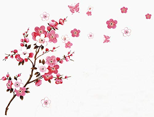 SWORNA Nature Series Branch Pink Flowers & Butterfly Removable Vinyl Mural Wall Art Decor Home Stickers Decals Bedroom/Hallway/Sitting/Living Room/Kids Nursery (29.5H X 65W, Brown & Pink,X-L)
