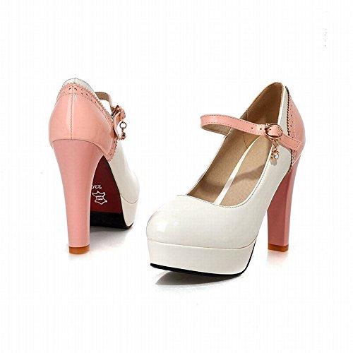 Mee Shoes Damen modern reizvoll Lackleder mehrfarbig Geschlossen ankle strap Schnalle Strass Plateau Pumps mit hohen Absätzen Weiß