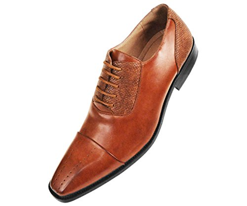 c2e0b1ff2 Amali Mens Cognac Brown Smooth Cap Toe Oxford Dress Shoe with Exotic Lizard  Printed Detail