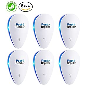 Ultrasonic Pest Control Repeller [2018 UPGRADED]- Eletronic Pest Repellent Plug In - Insect Repellent - Repels Mouse, Bedbug, Roaches, Ants - Non-toxic Eco-friendly, Humans / Pets Safe [6-Pack]