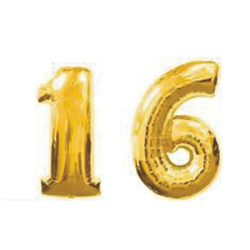 Grabo Giant 16th Gold Number (Sweet 16 Balloons)