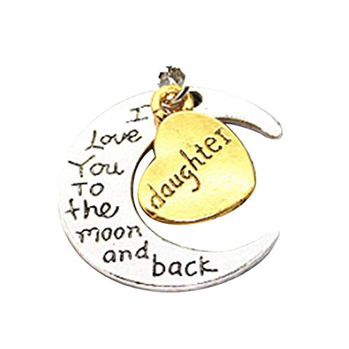 LiLiMeng I Love You To The Moon And Back' Engraved Silver Moon Pendant Necklace Mum Women Fashion
