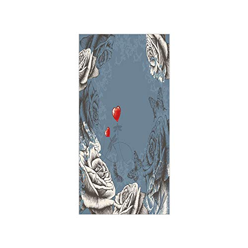 - 3D Decorative Film Privacy Window Film No Glue,Floral,Grunge Rose Petals and Butterflies Red Hearts Love Valentines Vintage Design,Slate Blue Grey,for Home&Office