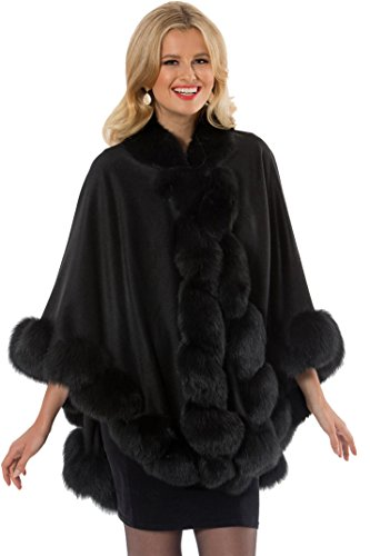 Madison Avenue Mall Womens Black Cashmere Cape With Fox Fur Trim - - Mall Madison