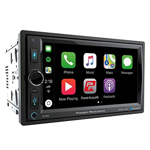POWER ACOUSTIK CP-650 Double DIN Bluetooth in-Dash Digital Media Car Stereo Receiver with Touchscreen, Apple CarPlay, 6.5