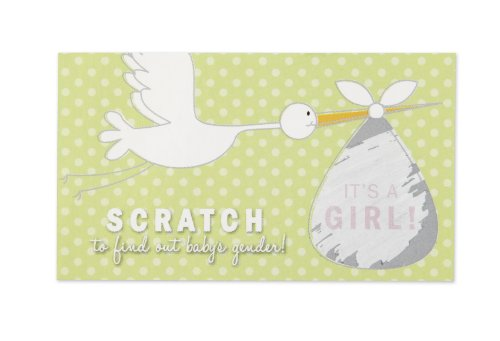 Wilton 1004-1559 Baby Reveal Stork Scratch Off Girl for Wedding Invitation, 10 Count -