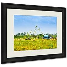 Ashley Framed Prints, Wheet Havest An Giang Long Xuyen Farmer Working Field Rice Breakers Machine, Wall Art Decor Giclee Photo Print In Black Wood Frame, Ready to hang, 16x20 Art, AG6091585
