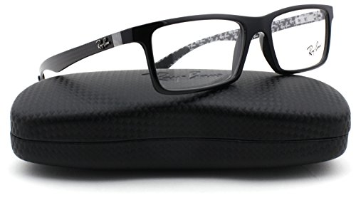 Ray-Ban RX8901 Carbon Fibre Unisex Eyeglasses (Black Grey Frame 5610, - Fibre Ban Ray Carbon