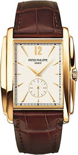 Patek Philippe Gondolo Silver Dial Yellow Gold Leather Mens Watch 5124J-001 (Patek Dial Philippe Gold)