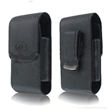 BLACK VERTICAL LEATHER COVER BELT CLIP SIDE CASE POUCH FOR Motorola Electrify M