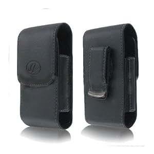 BLACK VERTICAL IMITATION LEATHER COVER BELT CLIP SIDE CASE POUCH FOR Samsung Intrepid i350 / Ace II 2