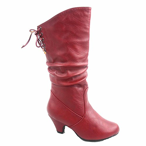 Win-40k Girl's Youth Fashion Round Toe Low Heel Slouch Half Back Lace Zipper Boots Shoes