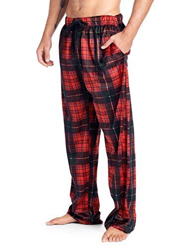 (Ashford & Brooks Men's Mink Fleece Sleep Lounge Pajama Pants - Red Black Plaid - 2X-Large)