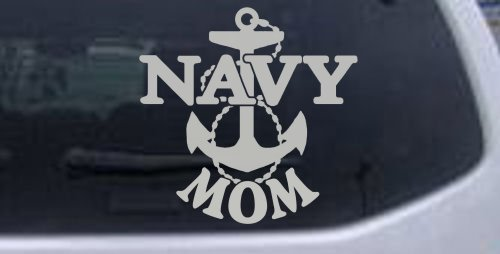 Navy Mom Military Car Window Wall Laptop Decal Sticker -- Silver 6in X 6in