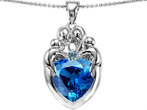 Star K Large Loving Mother Twins Family Pendant Necklace with 12mm Heart Simulated Blue Topaz