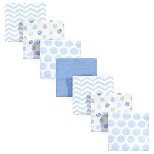 Luvable Friends 7 Piece Flannel Receiving Blanket, Blue, One Size