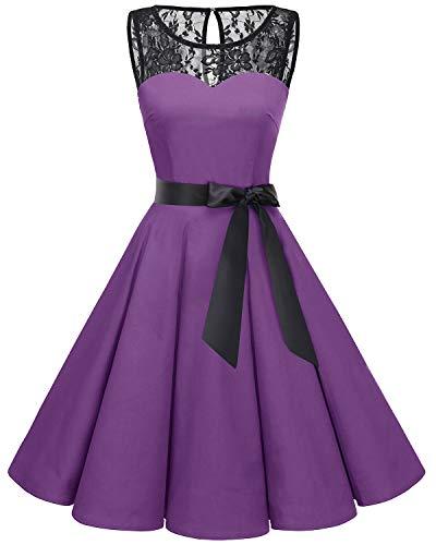 Bbonlinedress Women's 1950s Vintage Rockabilly Swing Dress Lace Cocktail Prom Party Dress Purple 3XL