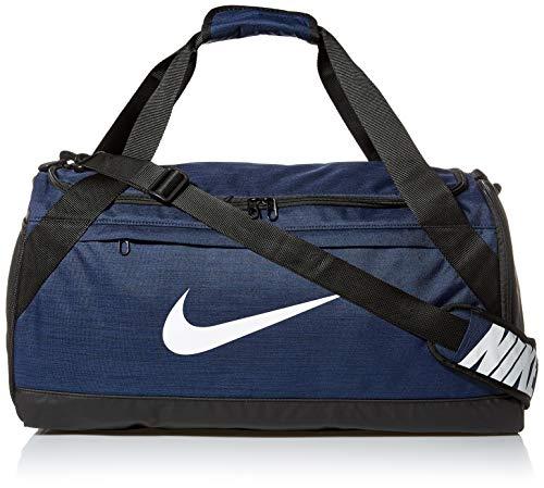Nike Brasilia Training Duffel Bag, Versatile Bag with Padded Strap and Mesh Exterior Pocket, Medium, Midnight Navy/Black/White